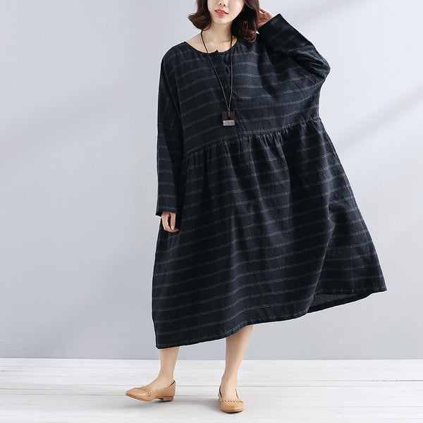 Loose Casual Round Neck Short Sleeve Pleated Buttons Women Navy Blue Stripe Dress - Buykud