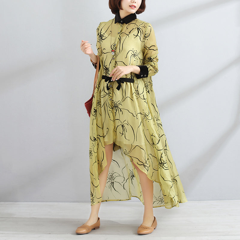 Irregular Polo Collar Long Sleeve Women Spring Yellow Dress - Buykud