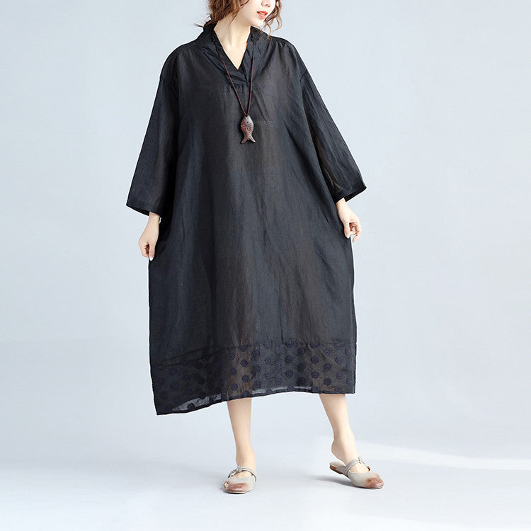 Women Loose Splicing Linen Embroidered Black Dress - Buykud