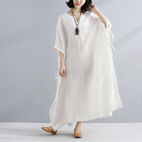 Summer V Neck Slit Loose Casual White Dress - Buykud