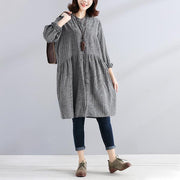 Single Breasted Loose Beige Lattice Women Pleated Dress