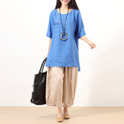 Ramie Round Neck Short Sleeves Irregular Blue Women Shirt - Buykud