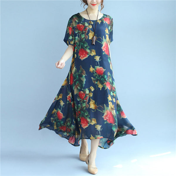 Printing Thin Loose Women Casual Silk Summer Blue Dress - Buykud