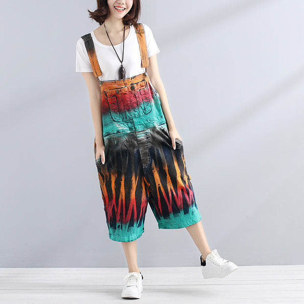 Stylish Chic Printing Loose Women Colorful Jumpsuit - Buykud