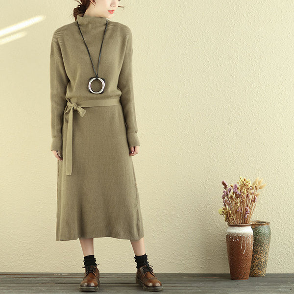 Women Mock Turtle Neck Long Sleeve Khaki Knitted Sweater Dress - Buykud