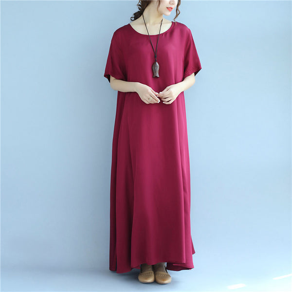 Splicing Summer Loose Casual Women Retro Plain Red Dress - Buykud