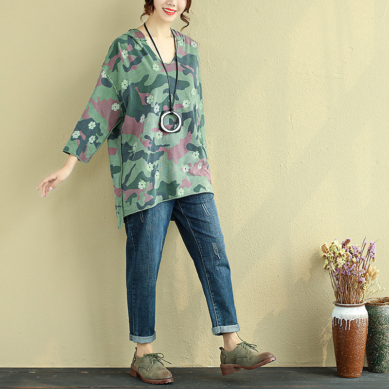 Women Hoodies Three Quarter Sleeve Printing Green Shirt - Buykud