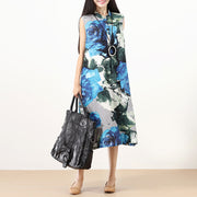 Fashion Printing Stand Collar Sleeveless Buttons Literature Blue Women Dress - Buykud