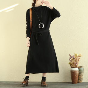 Women Mock Turtle Neck Long Sleeve Black Knitted Sweater Dress - Buykud