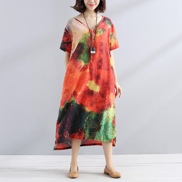 Retro Printing Round Neck Short Sleeves Loose Women Yellow Dress - Buykud
