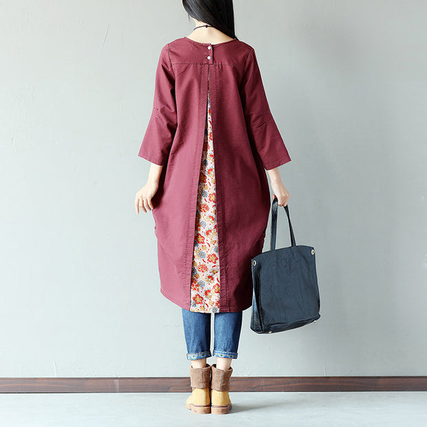 Casual Loose Pocket Fold Splicing Printing Linen Purple Dress - Buykud
