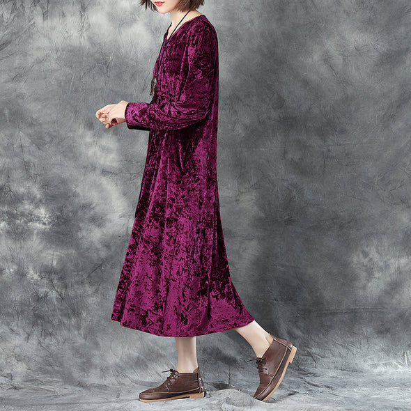 V Neck Long Sleeve Lacing Wine Red Pleated Dress For Women - Buykud