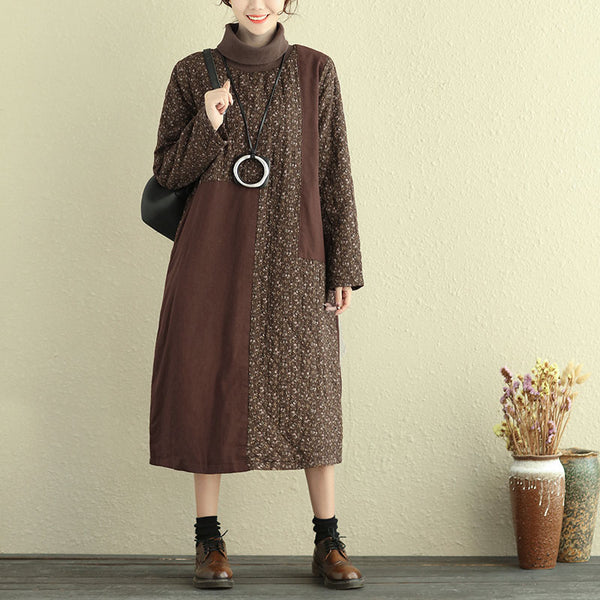 Cotton Linen Women Turtle Neck Long Sleeve Floral Printing Dress