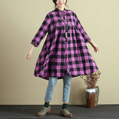 Lattice Loose Casual Purple Shirt Dress - Buykud