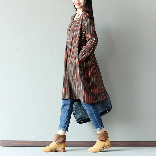 Spring Retro Loose Stripe Pocket Cotton Linen Coffee Long Shirt Dress - Buykud