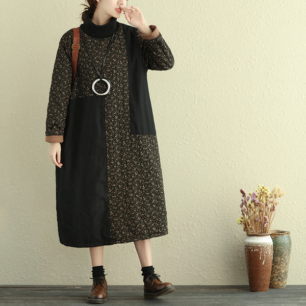 Turtle Neck Long Sleeve Floral Printing Cotton Linen Women Dress