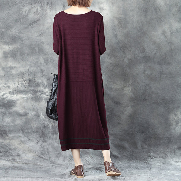 Chic Jacquard Round Neck Long Sleeve Long Dress For Women - Buykud