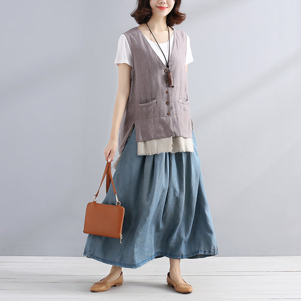 Women V Neck Splicing Double Pocket Vest - Buykud