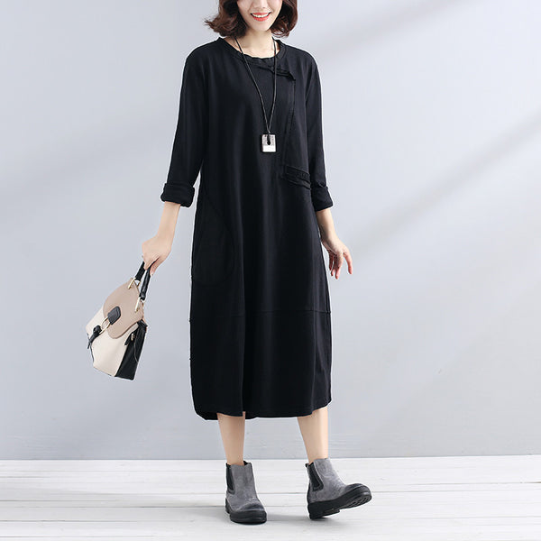 Women Splicing Casual Solid Long Sleeve Black Dress - Buykud