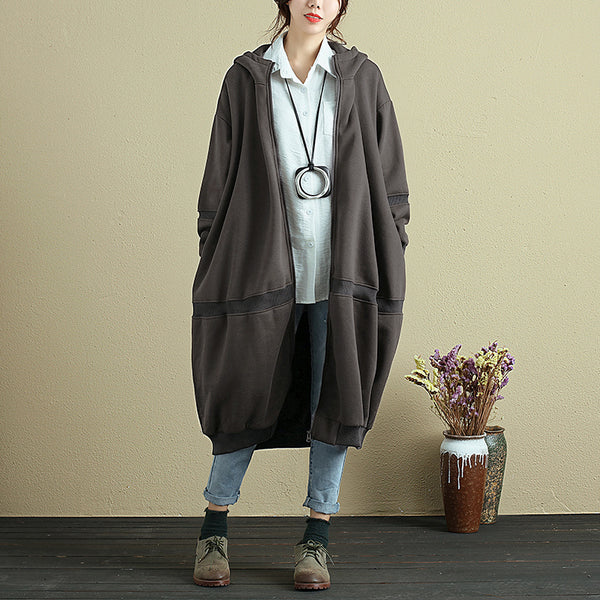 Autumn Loose Hooded Simple Baggy Coat For Women - Buykud