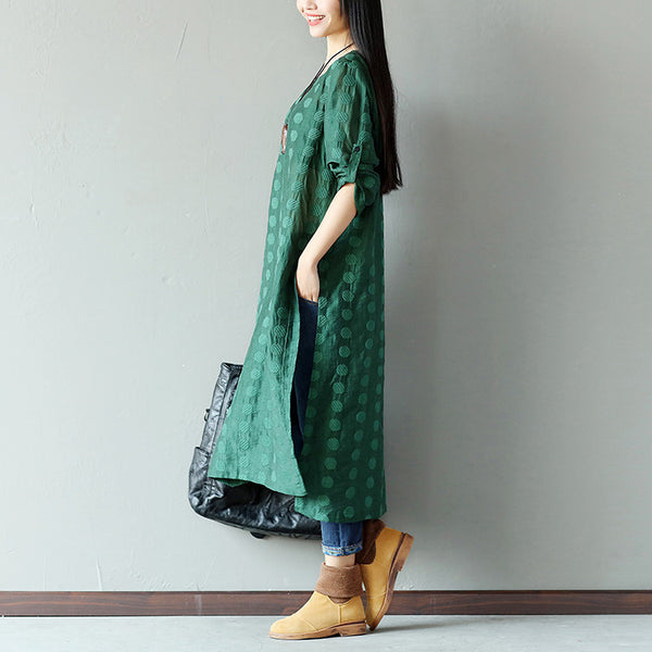 Women Spring Retro Loose Applique Slit Linen Long Dress - Buykud