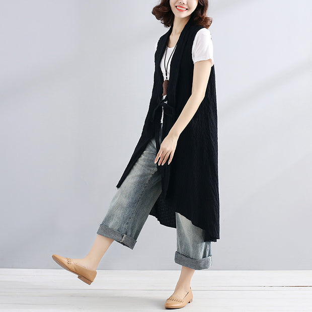 Casual Linen Sleeveless Strap Women Black Blouse - Buykud