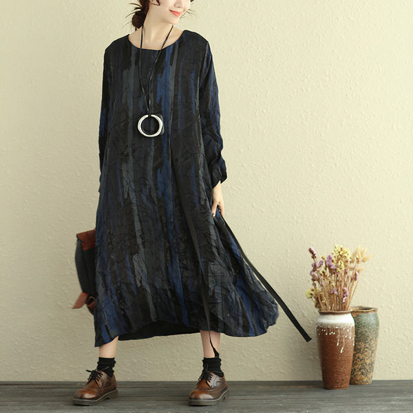 Autumn Women Round Neck Long Sleeve Lining Printing Dress