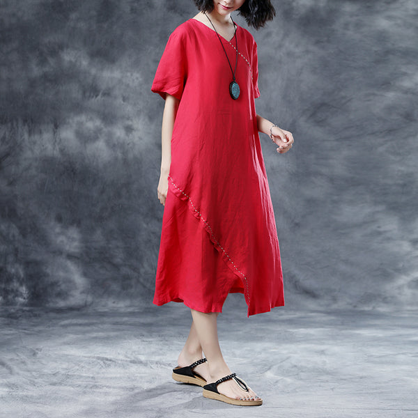 V Neck Retro Loose Short Sleeve Summer Red Dress