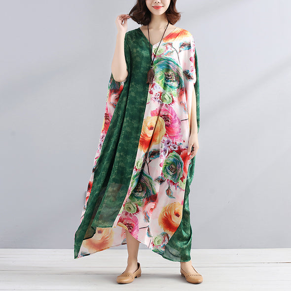V Neck Splicing Short Sleeves Printing Women Summer Dress - Buykud