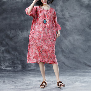 Round Neck Casual Loose Short Sleeve Summer Pink Dress