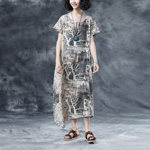 Retro Printing Loose Short Sleeve Summer Dress