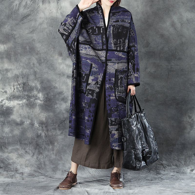Woolen Women V Neck Shoulder Sleeve Loose Cardigan Printing Coat - Buykud