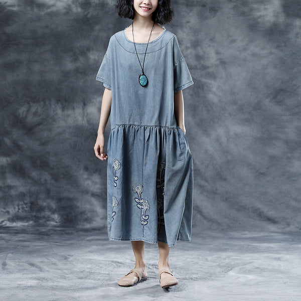 Casual Embroidery Loose Summer Short Sleeve Blue Women Dress