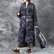 Winter Women Large Size Shoulder Sleeve Double Pocket Woolen Gray Coat