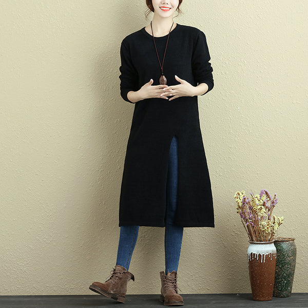 Women Long Sleeve Slit Solid Black Casual Long Shirt - Buykud