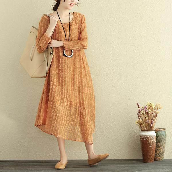Round Neck Long Sleeve Irregular Lining Gray Women Dress