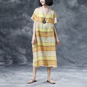 Summer Short Sleeve Casual Stripe Round Neck Dress