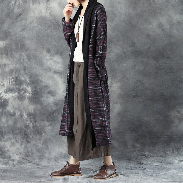 Women Warm Woolen Long Sleeve Loose Cardigan Splicing Printing Coat - Buykud
