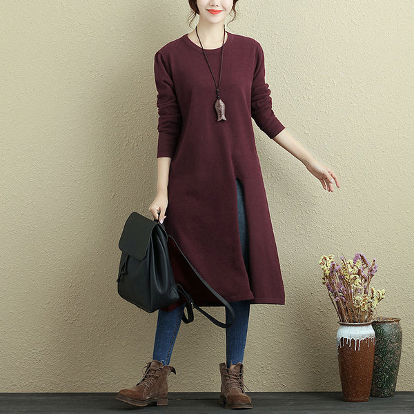 Women Long Sleeve Slit Solid Wine Red Casual Long Shirt - Buykud