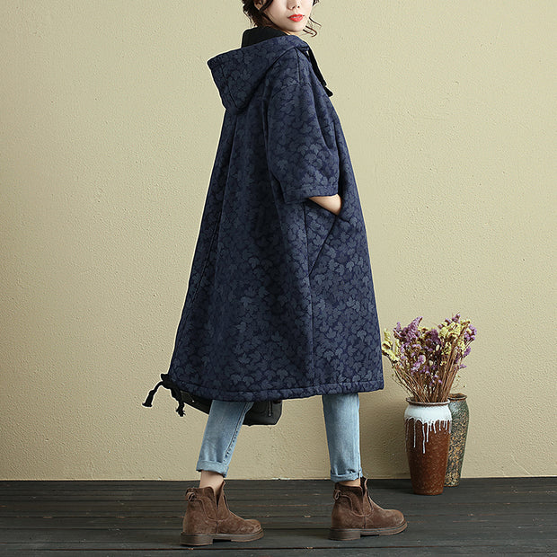 Hooded Printing Casual Loose Winter Women Long Pullover - Buykud