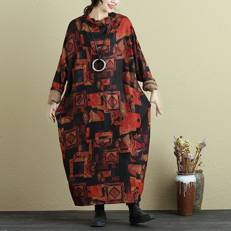 Retro Mock Turtleneck Long Sleeve Colorful Printing Ankle Length Dress For Women - Buykud