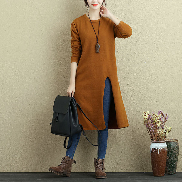 Women Long Sleeve Slit Solid Orange Casual Long Shirt - Buykud