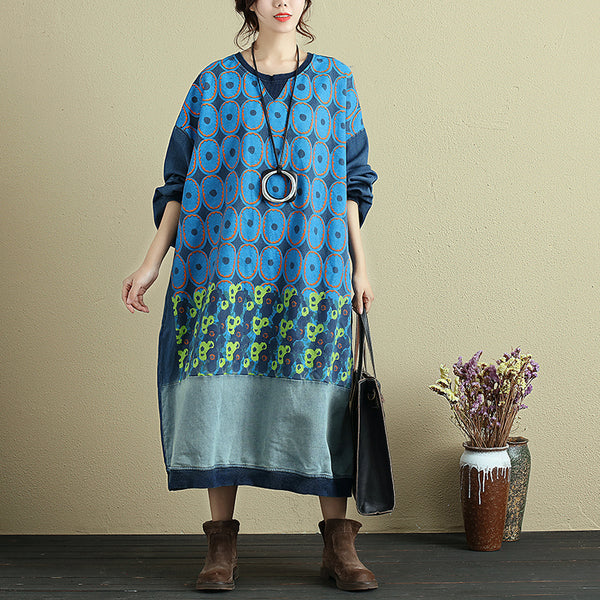 Autumn Long Sleeve Printing Baggy Denim Dress For Women - Buykud