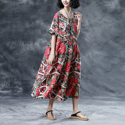 Floral Summer Short Sleeve Casual Round Neck Long Dress
