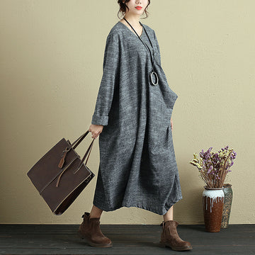 Autumn Fashion Large Size Casual Long Sleeve Gray Dress For Women - BuykudWomen Casual Loose Pocket Draped Long Dress