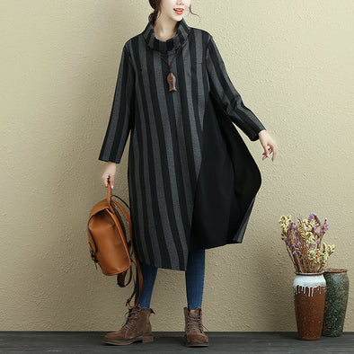 Women Long Sleeve Stripe Pockets Casual Dress - Buykud