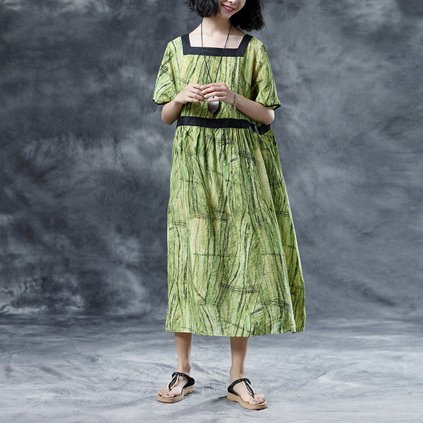 Square Collar Casual Loose Short Sleeve Summer Green Dress