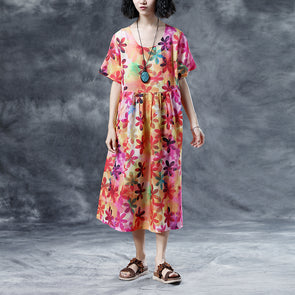 Summer Floral Short Sleeve Casual Pleated Round Neck Dress