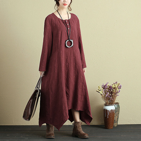 Women Round Neck Long Sleeve Irregular Hem Dress - Buykud