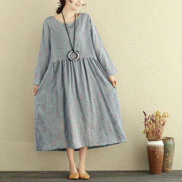 Women Spring Autumn Long Sleeve Ruched Embroidery Dress